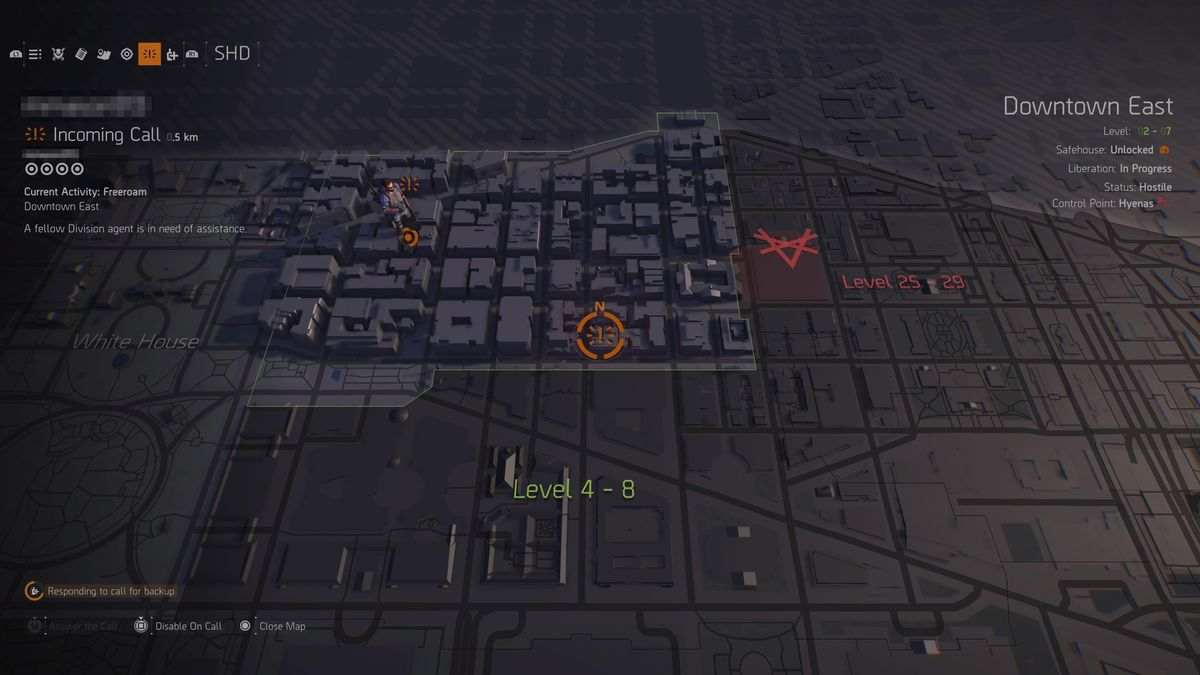 The Division 2 agent in need of backup SHD menu map