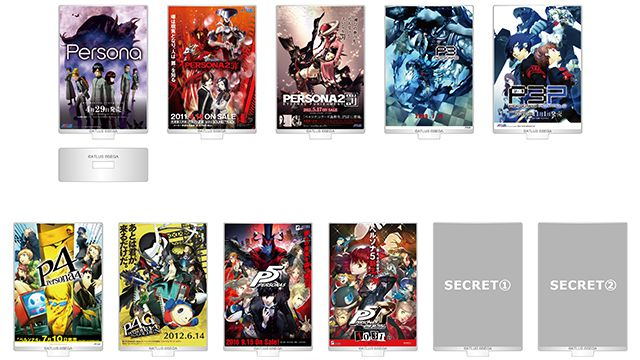 Artwork of Persona poster-style cards with stands