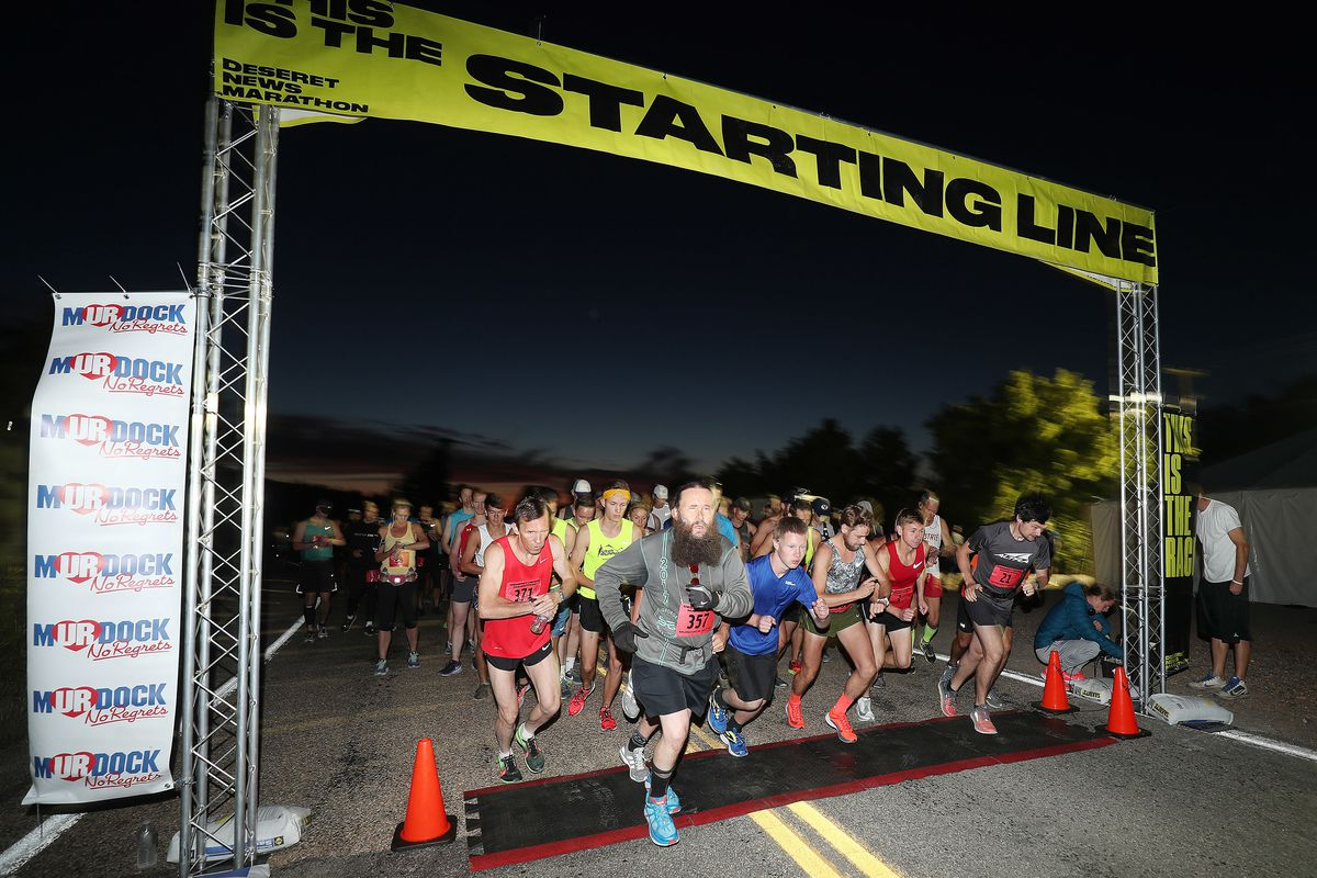 FILE - Deseret News marathon runners begin the race in Emigration Canyon on Tuesday, July 24, 2018.