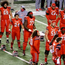 Utah players begin warmups as they prepare to play Oregon State in a college football game at Rice-Eccles Stadium in Salt Lake City on Saturday, Dec. 5, 2020.