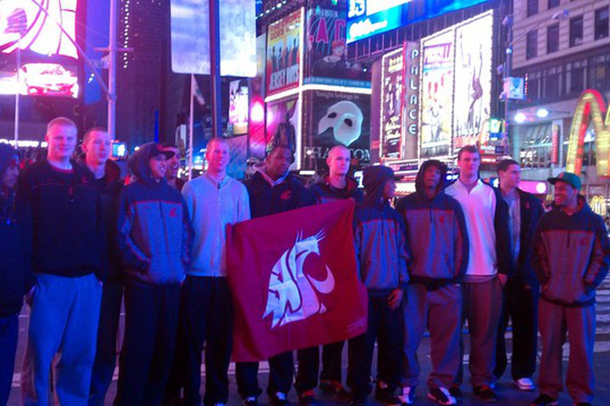 The WSU basketball team proudly displays its version of Ol' Crimson in Times Square as they take in the sights and sounds of New York in advance of Tuesday's NIT semifinal against Wichita State.