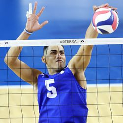 BYU's Gabi Garcia Fernandez, makes a block as BYU and Pepperdine play in the finals of the Mountain Pacific Sports Federation Championship, at the Smith Field House in Provo on Saturday, April 24, 2021. BYU won in straight sets.