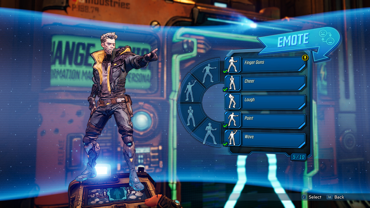 A player stands at a Quick Change station where they are given the option to swap in a new emote to their emote select wheel.