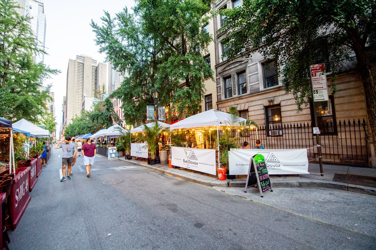 """A view of 46th Street which has been temporarily converted to """"Restaurant Row"""" for outdoor dining during the fourth phase of the coronavirus pandemic reopening on September 06, 2020 in New York, New York."""