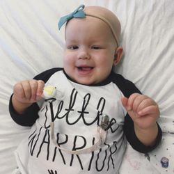 Harper is happy as can be! She has an incredible attitude toward her cancer.
