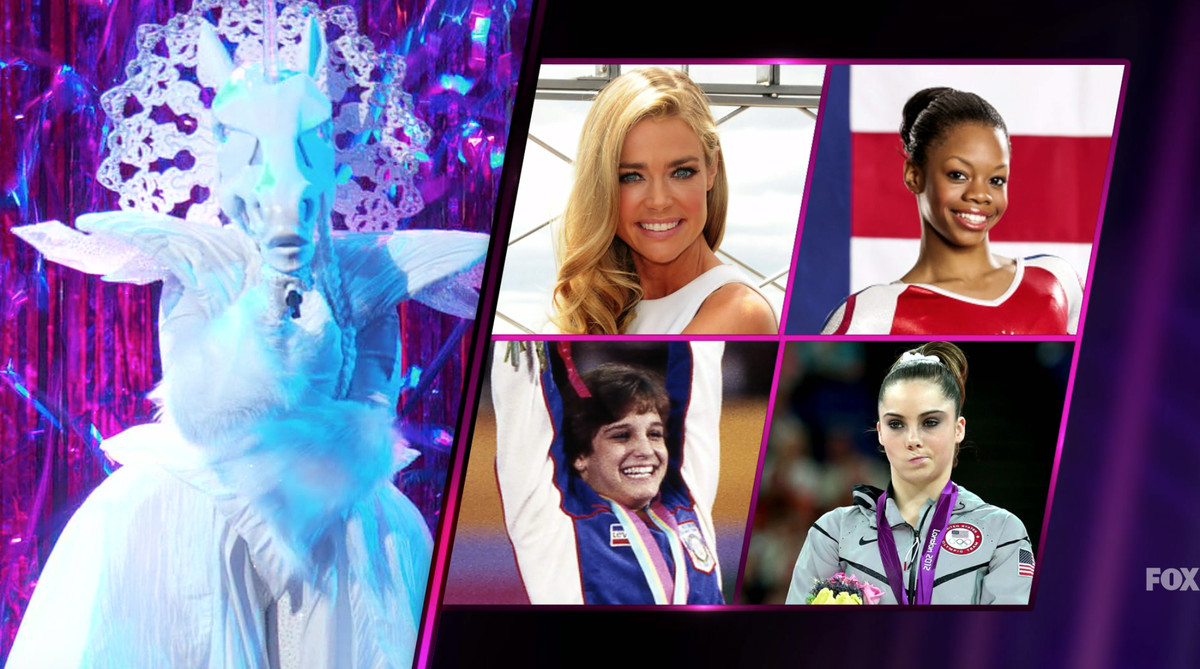 An image of the unicorn singer alongside guesses for who it may be, including McKayla Maroney and other gymnasts
