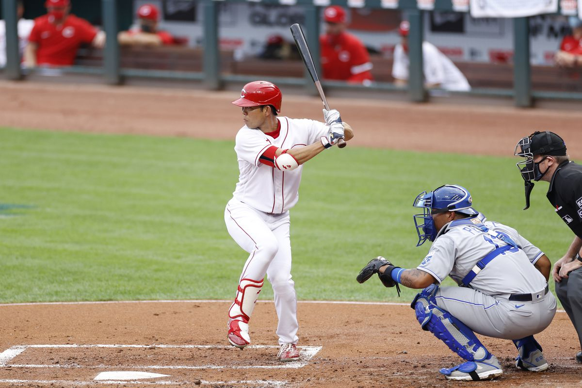 Shogo Akiyama #4 of the Cincinnati Reds bats in the first inning against the Kansas City Royals at Great American Ball Park on August 12, 2020 in Cincinnati, Ohio. The Royals defeated the Reds 5-4.
