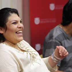 Guillermina Garcia and her husband, Fernando, speak to the media about their quintuplets delivered at University of Utah Health Care in Salt Lake City on Tuesday, May 28, 2013.