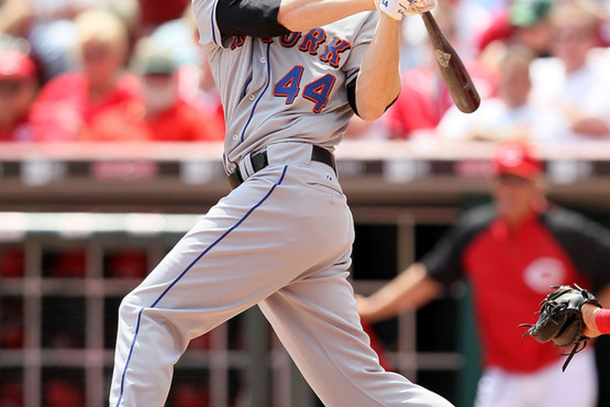 CINCINNATI - MAY 05:  Jason Bay #44 of the New York Mets is pictured while striking out during the game against the Cincinnati Reds on May 5, 2010 at Great American Ballpark in Cincinnati, Ohio.  (Photo by Andy Lyons/Getty Images)