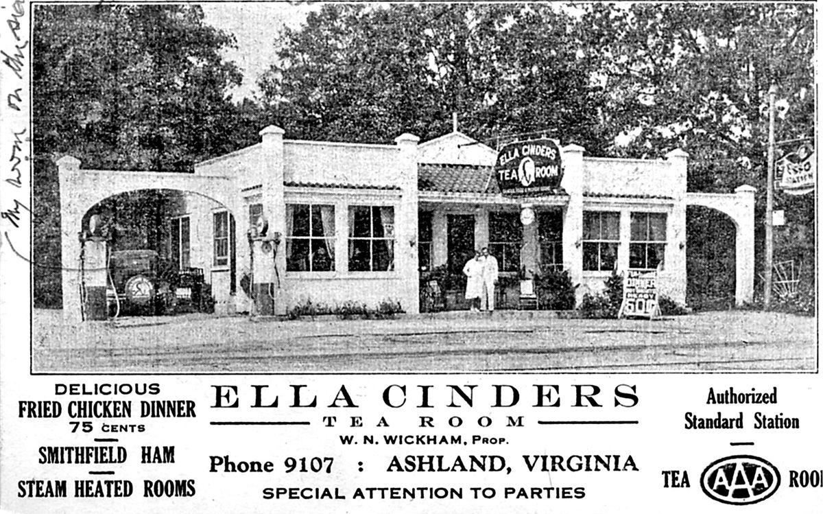 An old postcard for Ella Cinders Tea Room.