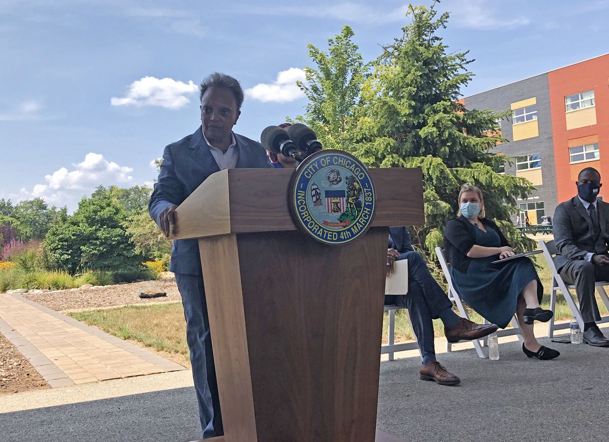 Mayor Lori Lightfoot speaking at a news conference Thursday, Aug. 5, 2021 in North Lawndale.