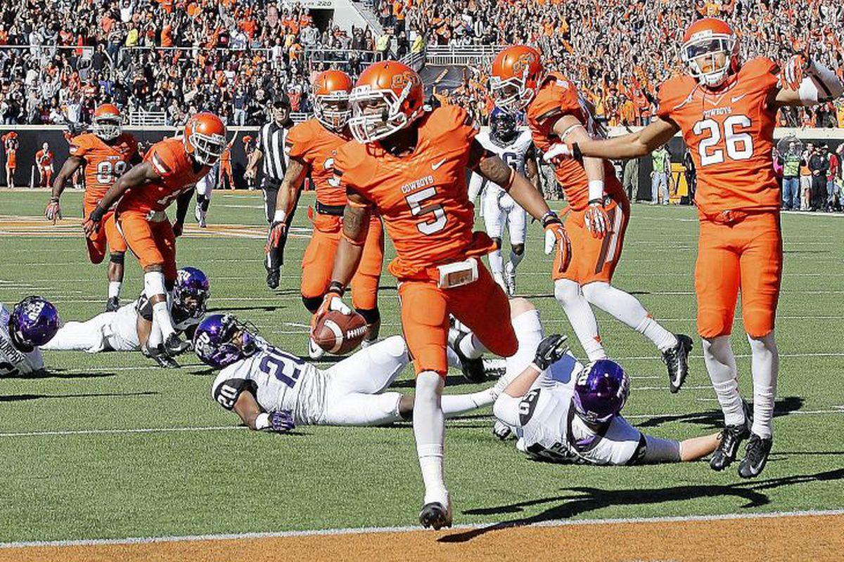 Josh Stewart runs into the endzone capping off a punt return for a touchdown against TCU.