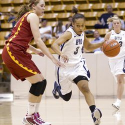 BYU's Jazmine Foreman drives the ball in BYU's loss to USC in the third round of the National Invitational Tournament on Wednesday, March 23, 2011. BYU lost 50-62.