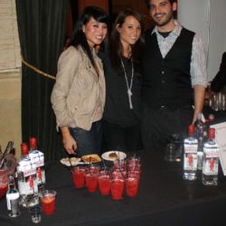 """Zero Zero bar manager Joel Teitelbaum served a delightful gin cocktail with the help of Katherine Chen and another friend from <a href=""""http://www.boobs4food.com/"""" rel=""""nofollow"""">Boobs4Food</a>"""