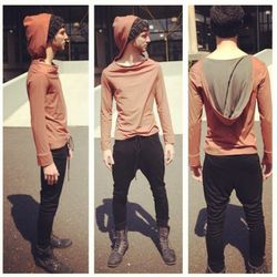 """Rust cowl pullover with hood ($70) Black skinny drop crotch sweat pant ($110) from local designer <a href=""""http://www.etsy.com/shop/LoopNLink"""">Ryan James Menswear</a>."""