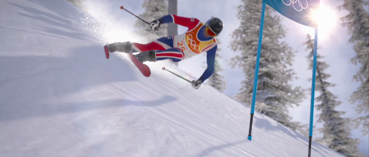 An Olympic skier rounds a slalom gate