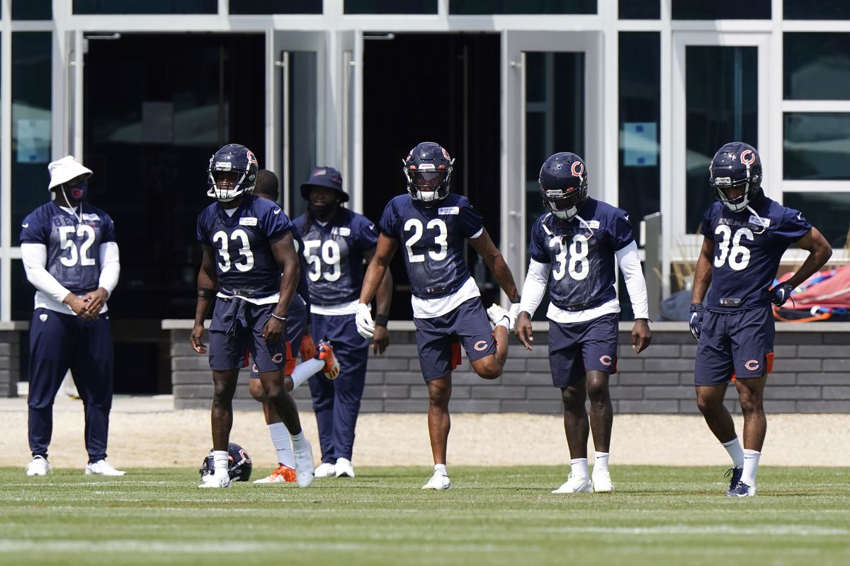 Bears players stretch before Sunday's practice.