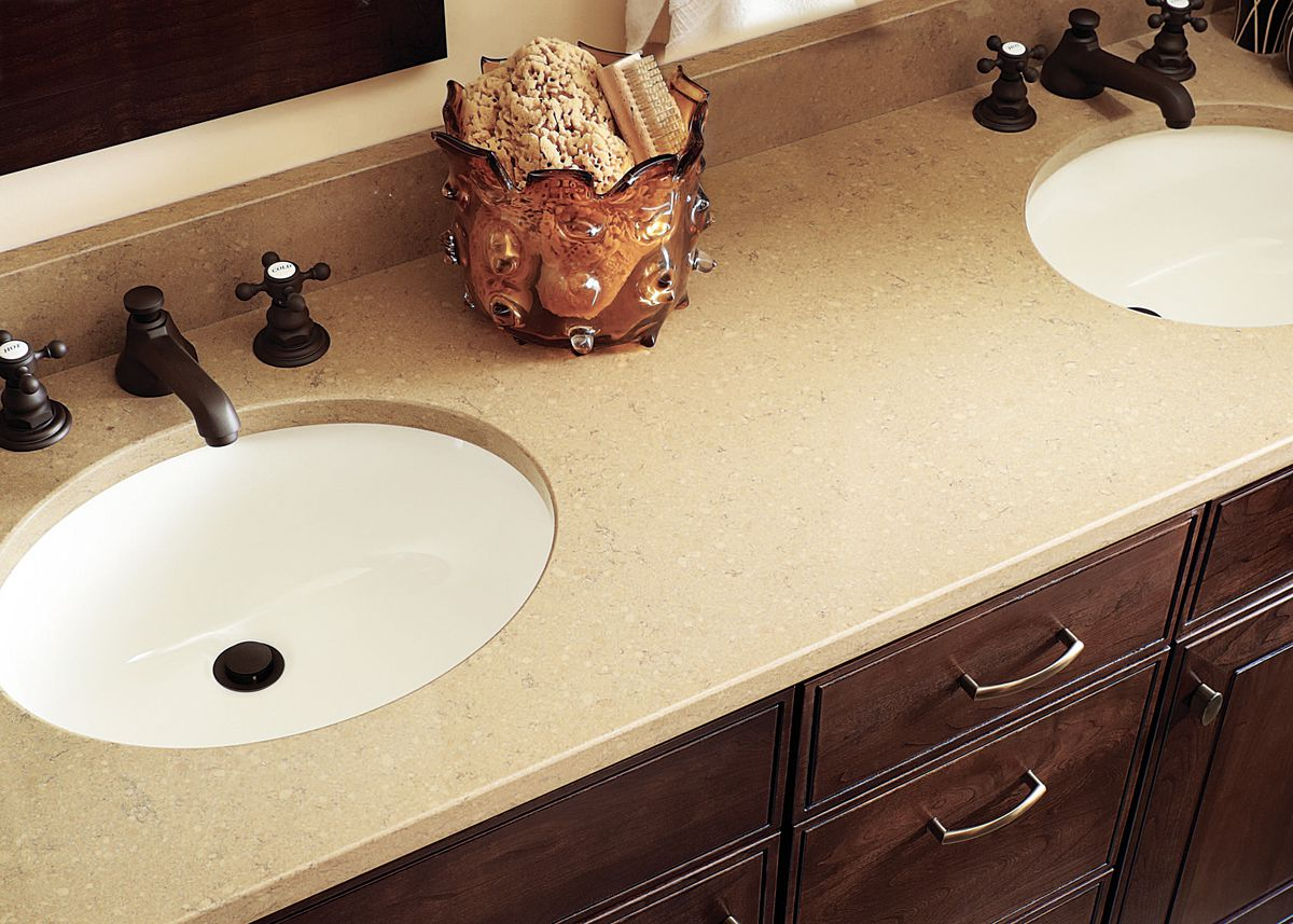Quartz countertop used around bathroom sink.