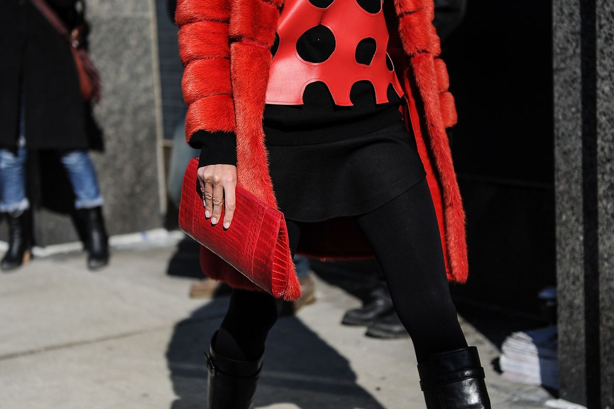 A Nancy Gonzalez clutch spotted at NYFW in February