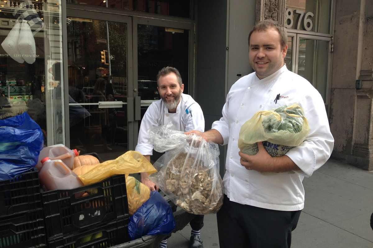 [Koenig (right) with his market haul]