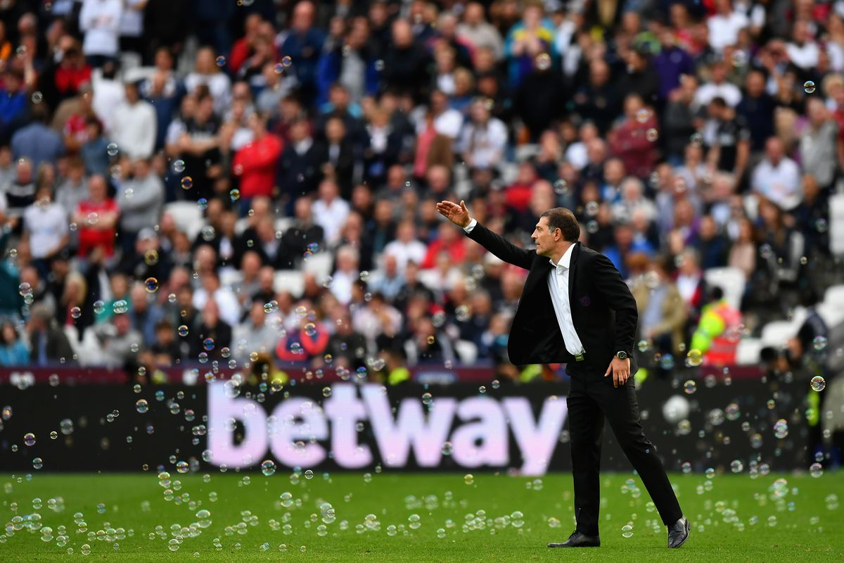 Slaven Bilic instructs West Ham United during the Premier League Match against Swansea City