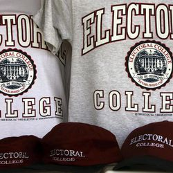 FILE - In this Oct. 28, 2008 file photo, sportswear bearing the name of a college that doesn't exist: the Electoral College, are seen in Glenburn, Maine, on Tuesday, Oct. 28, 2008. When it comes to voting for president, not all votes are created equal. Chances are yours will count less than a select few. Each state's Electoral College votes are based on the size of its congressional delegation, not its population. Because of that, a presidential vote in Wyoming mathematically counts more than three times as much as a vote in Ohio, at least in terms of choosing electors.