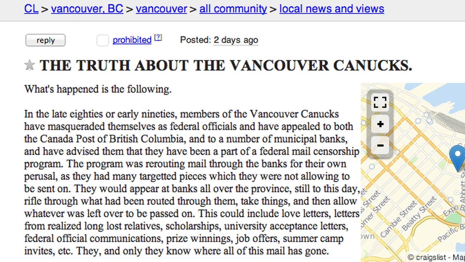 Craigslist Post Says Canucks Are Reading Your Mail And Poisoning Your Water Sbnation Com You can buy and sell almost anything (within reason), not to mention the personals section. sb nation