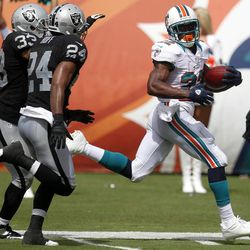 Miami Dolphins running back Reggie Bush (22) looks back toward Oakland Raiders free safety Michael Huff (24) and strong safety Tyvon Branch (33) while approaching the end zone during the second half of an NFL football game on Sunday, Sept. 16, 2012, in Miami.