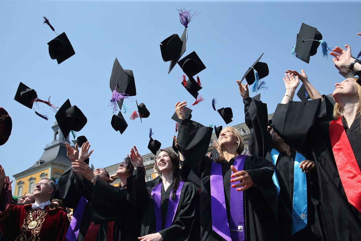 College students celebrate at graduation