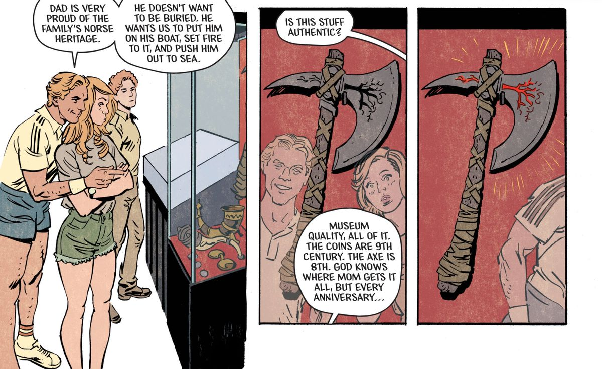 The sheriff's son shows off his dad's collection of Norse artifacts, including an axe that glows red when the characters have walked away, in Basketful of Heads #1, DC Comics (2019).