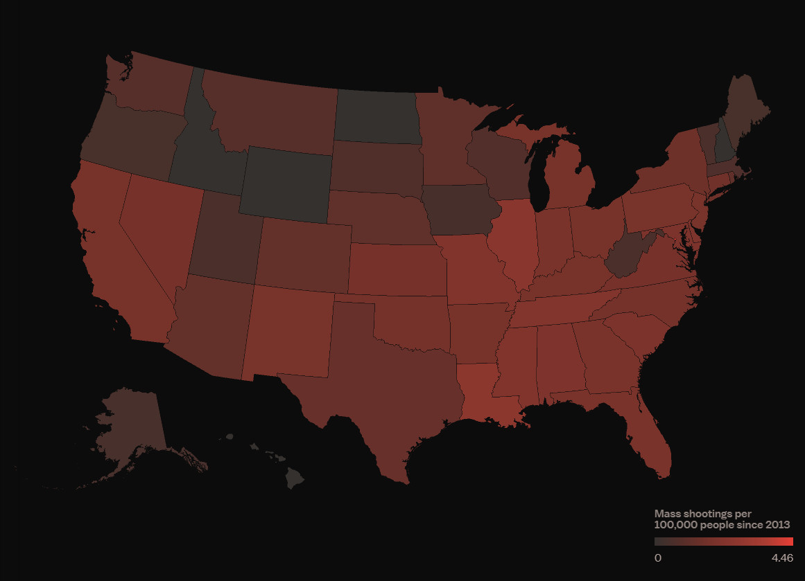 A map of mass shootings in the US by state.