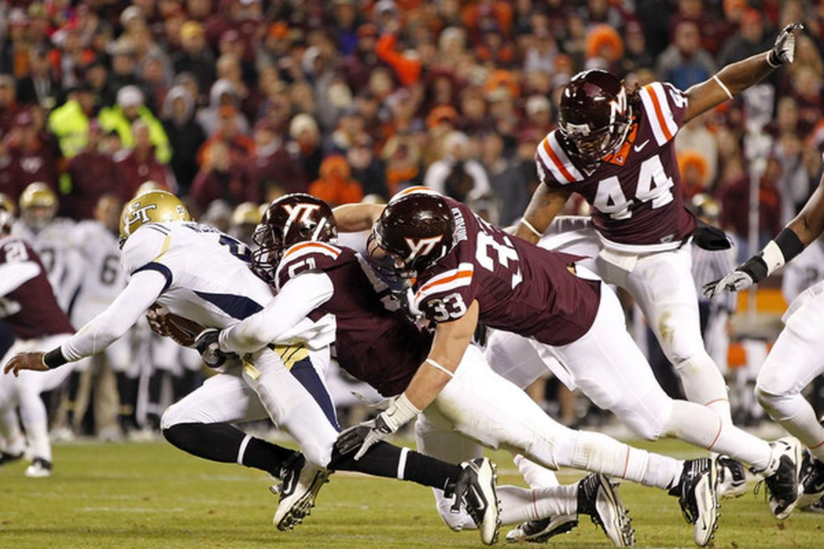 The Hokies will be deep at linebacker next season. (Photo by Geoff Burke/Getty Images)