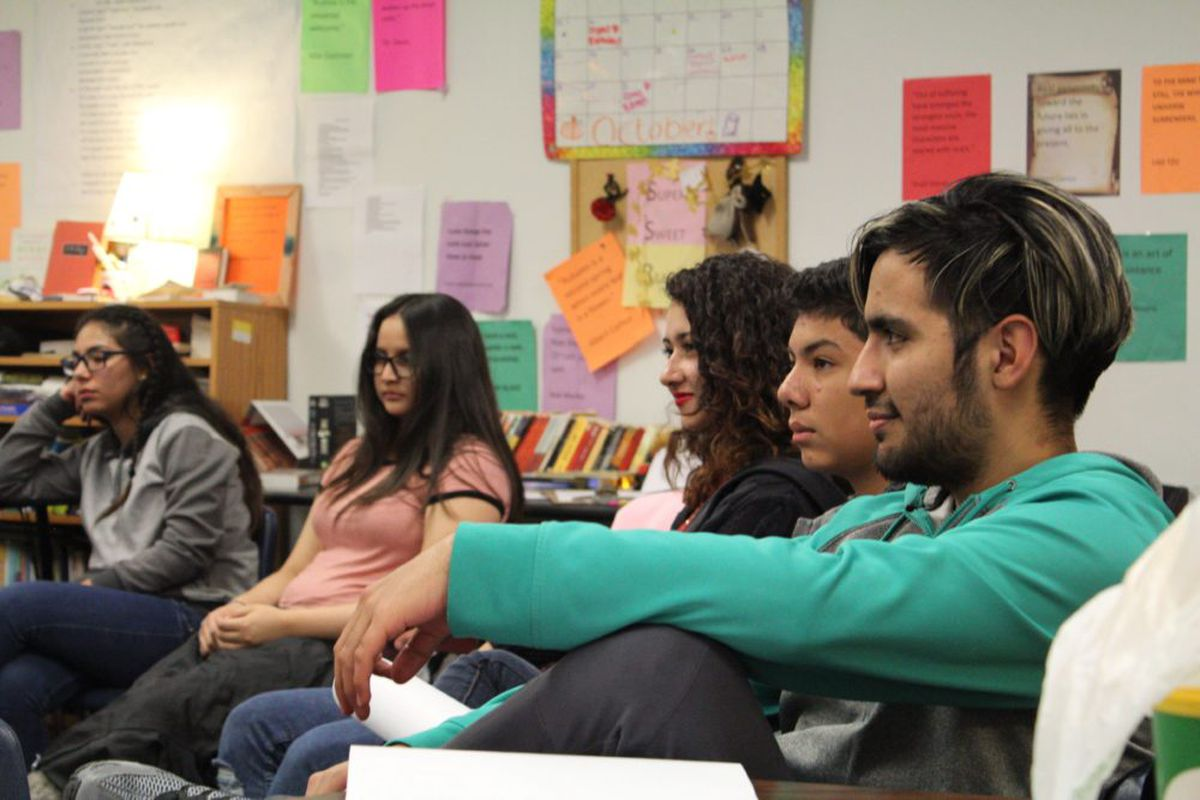 Students at the New America School, authorized by the Charter School Institute, in Thornton during an English class. (Photo by Nic Garcia)