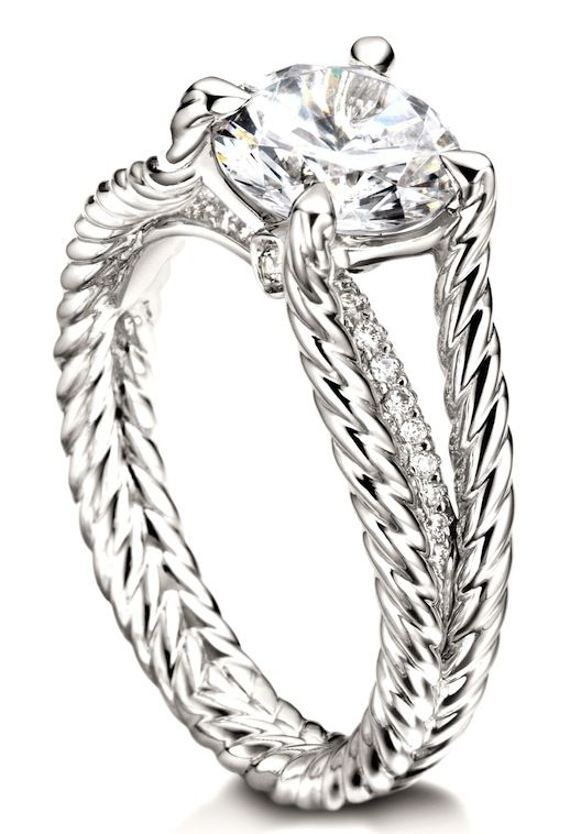 this gallery cable engagement ring starts at 10000 we like how its conservative and genteel looks but has a stealth band of pave diamonds - David Yurman Wedding Rings