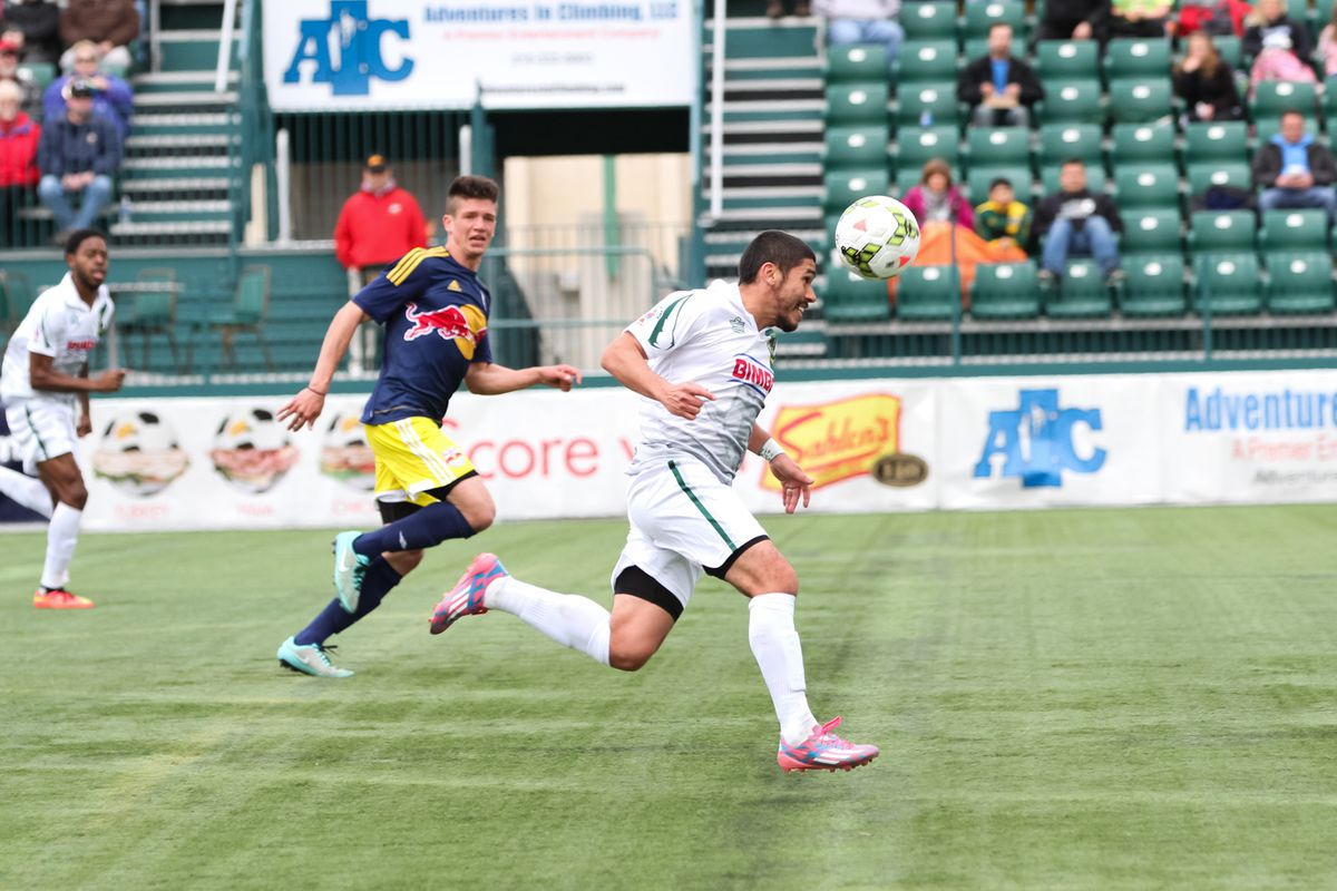 Goalscorer Johnny Mendoza drives up the field in the second half against NYRB II
