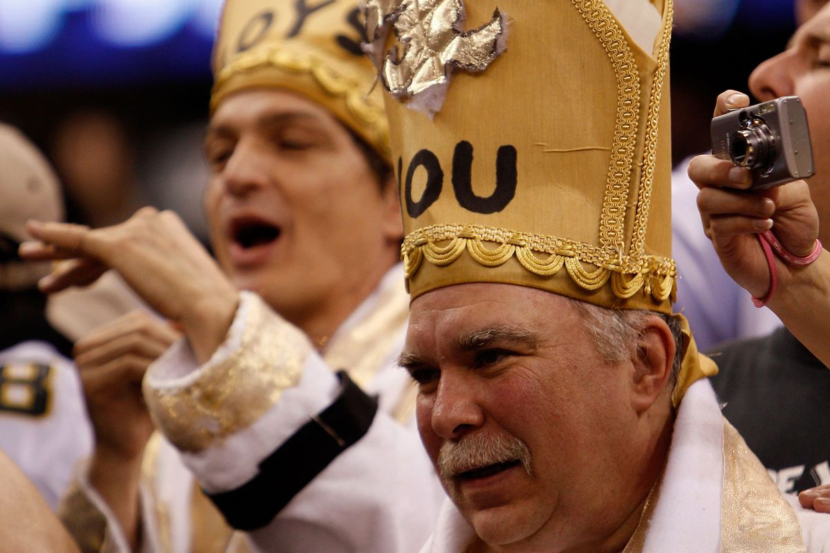 Fans of the New Orleans Saints support the Saints against the Minnesota Vikings during the NFC Championship Game at the Louisiana Superdome on January 24, 2010 in New Orleans, Louisiana.