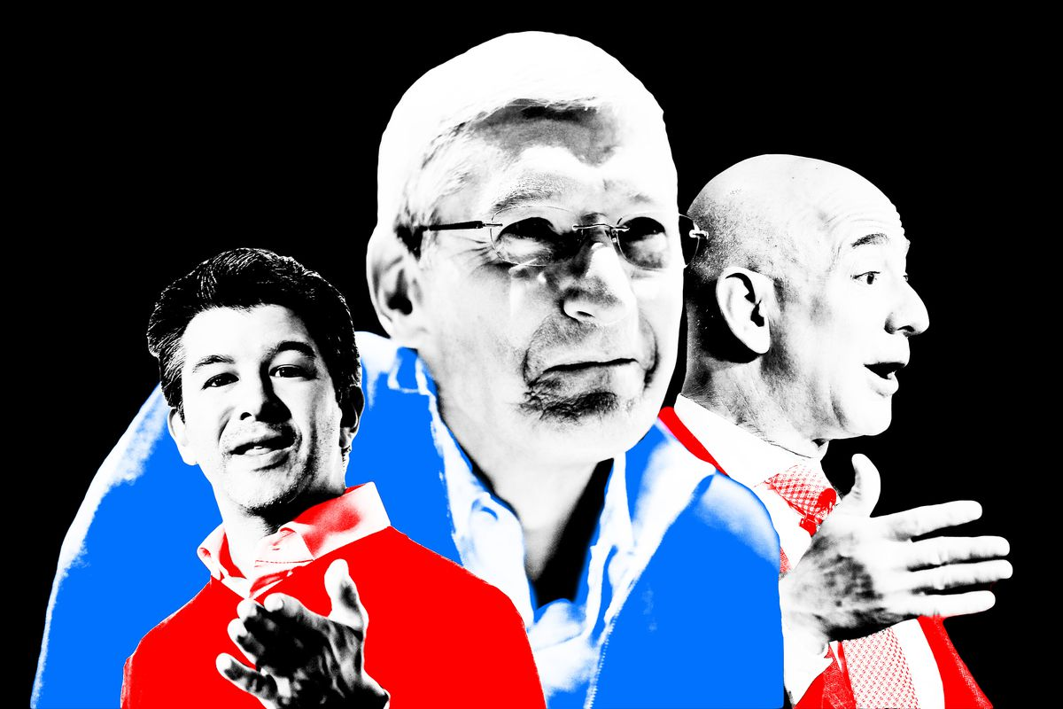 A collage of Travis Kalanick, Tim Cook, and Jeff Bezos