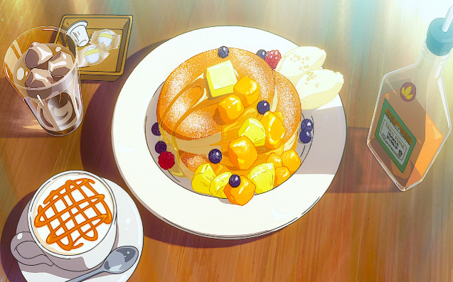 A screenshot from the 2016 anime film Your Name shows beautifully rendered fluffy blueberry pancakes dripping with butter and syrup.