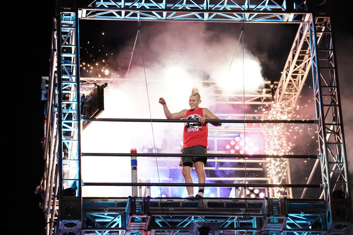 """Kai Beckstrand is pictured on the television show """"American Ninja Warrior."""""""