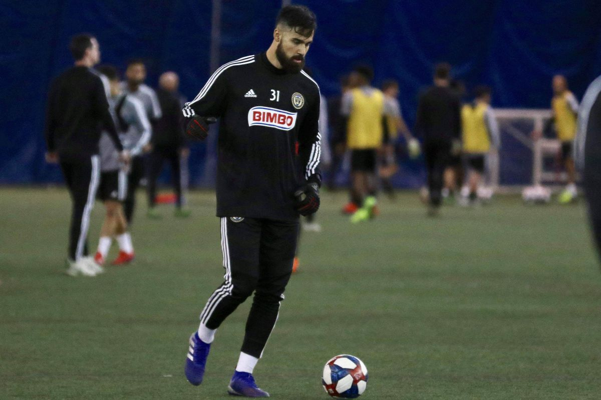 Goalkeeper Carlos Miguel Coronel practices with the Philadelphia Union. Coronel is on loan for 2019 from RB Salzburg.