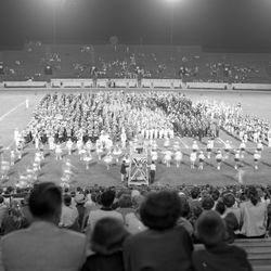 1954-Marching band on field at the FSU Band Festival.