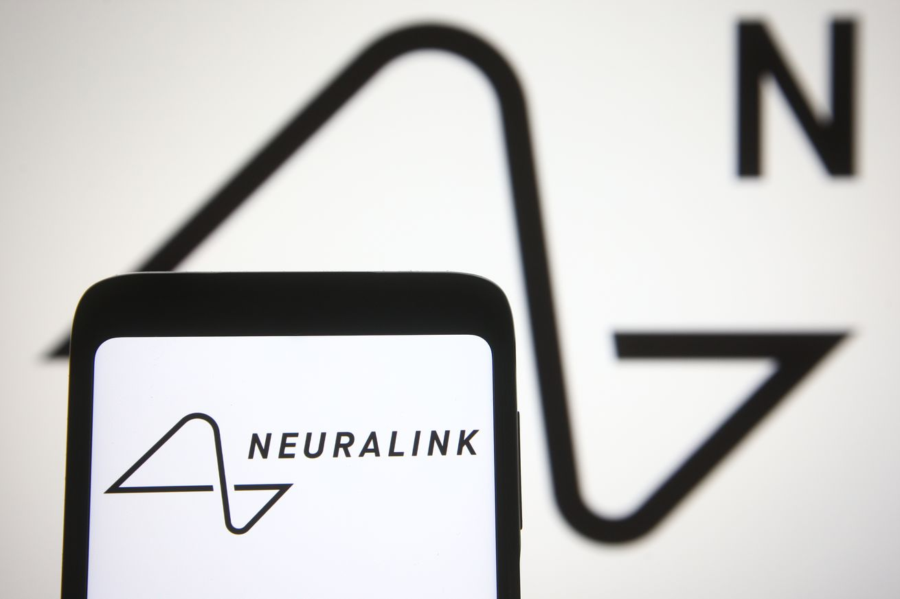 Photo illustration of the Neuralink logo