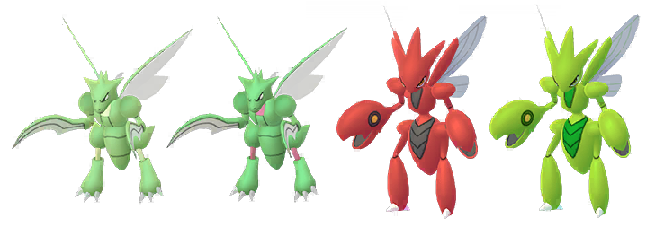 Scyther and Scizor with their shiny variants