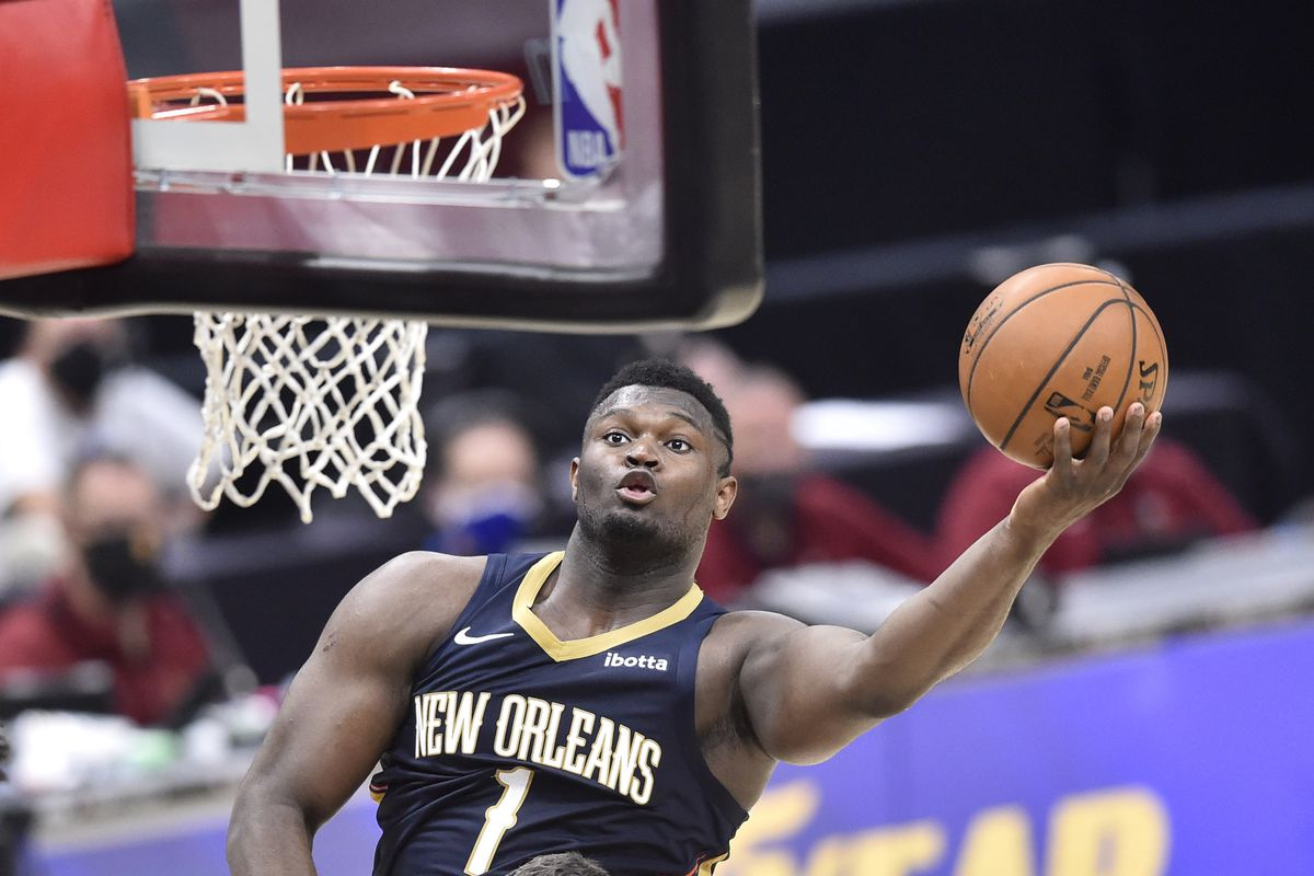 New Orleans Pelicans forward Zion Williamson goes to the basket during the fourth quarter against the Cleveland Cavaliers at Rocket Mortgage FieldHouse.