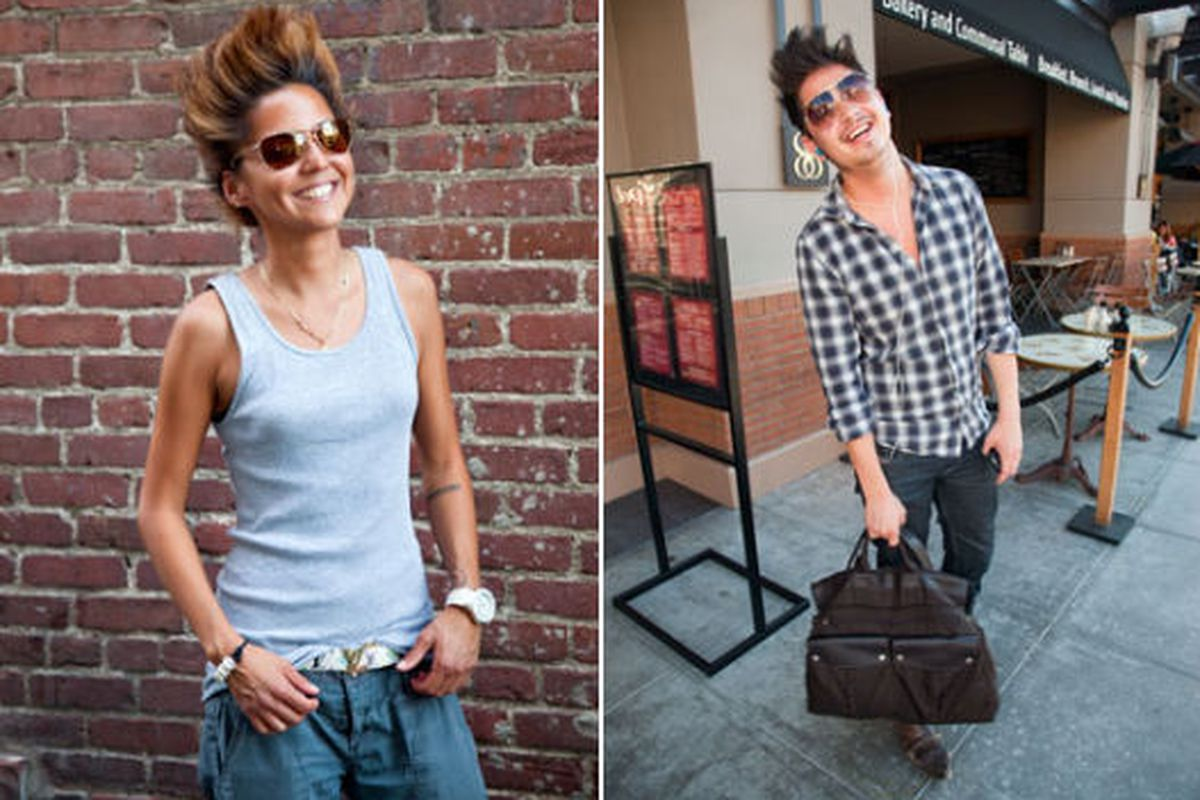"""Crazy hair and man bags on the streets of Old Pasadena. Images via <a href=""""http://www.latimes.com/features/image/la-ig-street-fashion-old-town-pasadena-pictures,0,6993214.photogallery"""">All the Rage</a>"""