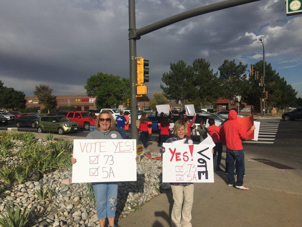 Aurora teachers demonstrate in support of Amendment 73.