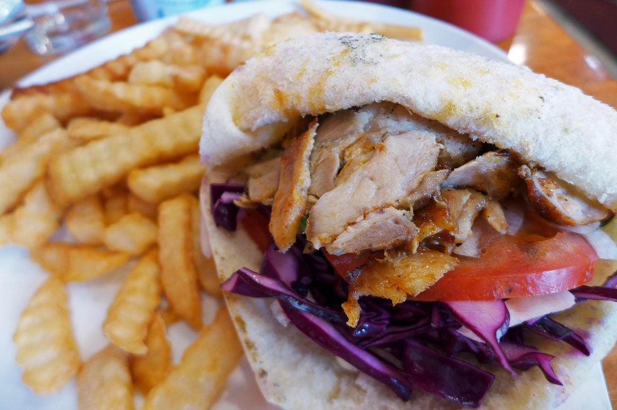 A chicken gyro sandwich with french fries and a beverage is a bargain.