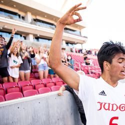 """Judge Memorial's Constantine Daskalakis flashes the """"3"""" sign as he celebrates the team's win over Morgan in the 3A boys soccer championship at Rio Tinto Stadium in Sandy on Tuesday, May 18, 2021. This is the team's third division title in a row."""