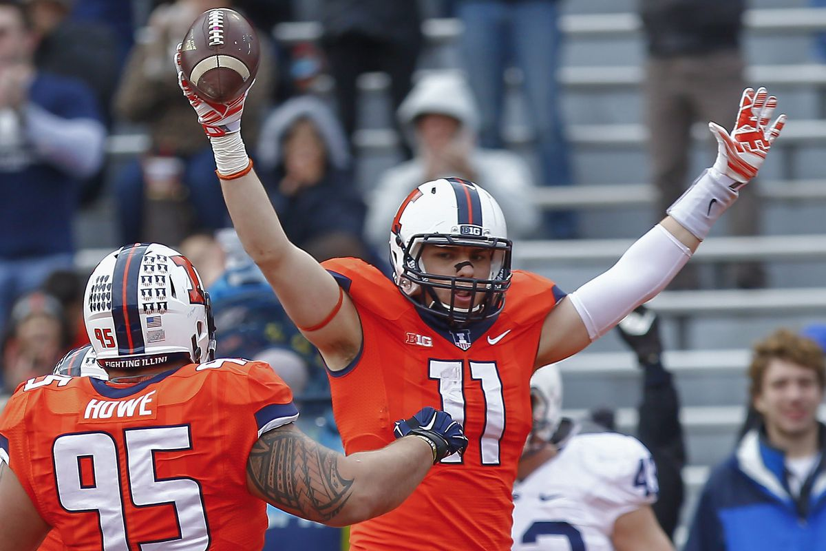 Matt LaCosse celebrates a touchdown reception.