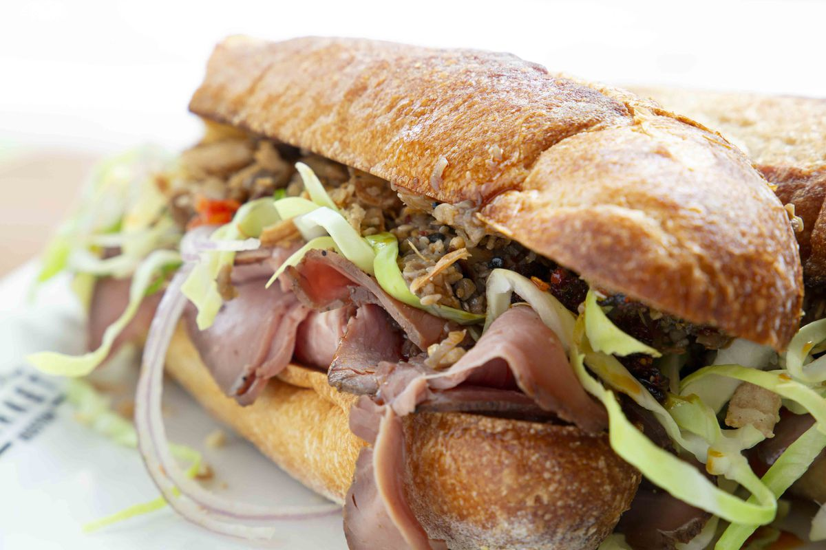 Roast beef sandwich at Bisq at Time Out Market Boston (scallion, cabbage, baguette, mushroom XO sauce)